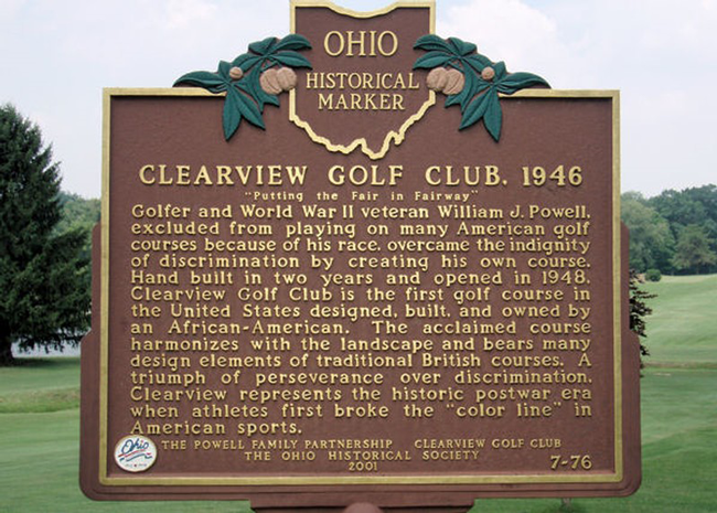 Clearview Golf Club History Board sign